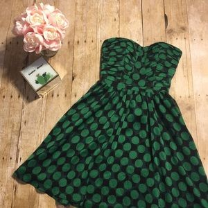Fynn & Roae Strapless Polka Dot Dress- Size XS